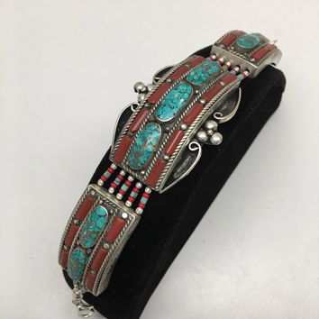 Vintage Nepalese Red Coral & Green turquoise Inlay Statement Bib Bracelet, NPB34