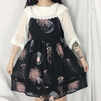 Gothic jellyfish print girl Harajuku kawaii sling dress + Tops lace stitch o neck shirt blouse Summer women's two-piece sets