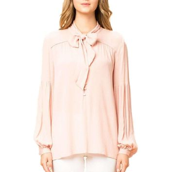 Tie Front Long Sleeve Blouse, Blush