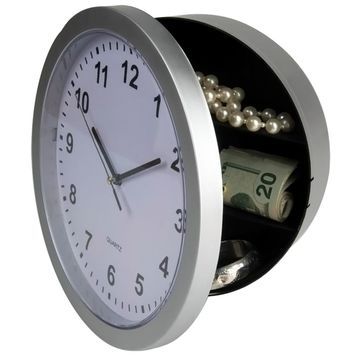 "Evelots Mountable Round Wall Clock With Hidden Safe 9.75"",Security For Valuables"