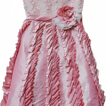 Isobella & Chloe Candied Ginger Ruffle Pink Formal Tulle Dress