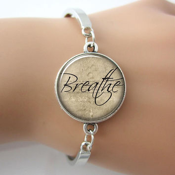 Inspirational Glass Bracelet- BREATHE
