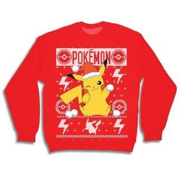 Pokemon Men's Pikachu Holding Snowball Ugly Graphic Christmas Sweater