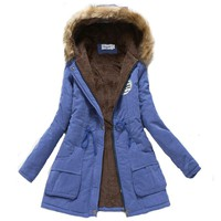 2017 women winter thicken warm coat female autumn hooded cotton fur plus size basic jacket outerwear slim long ladies chaqueta