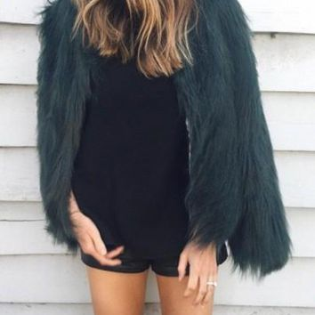 New Women Dark Green Long Sleeve Fashion Faux Fur Coat