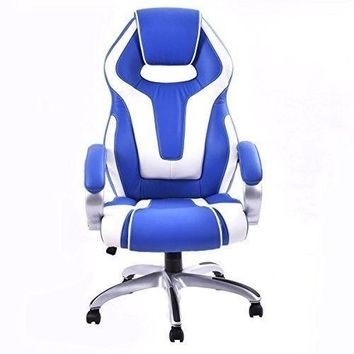 Chair Office Desk PU Leather High Back Racing Style Bucket Seat Head White Black