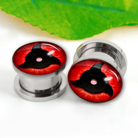 Pairs  Naruto Sharingan eyeball  ear plugs , ear plugs,0g,00g ,2g 6--20mm ear plugs , flash tunnel silver  ear plugs, screw on   ear plugs