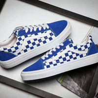 Vans Old  Skool  Casual White Stripes Blue White Grid Shoes Men And Women Cloth Shoes G-PSXY