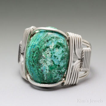 Chrysocolla Sterling Silver Wire Wrapped Cabochon Ring