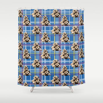 Pugs on Blue Plaid Shower Curtain by pugmom4