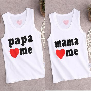 novelty hot Summer Newborn Toddler Baby Kids Boys Girls Top Sleeveless o-neck papa mama love me letter T shirt Blouse 0-4Y