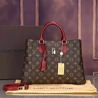 Louis Vuitton LV Classic Fashionable Monogram Leather Crossbody Satchel Shoulder Bag Handbag Red
