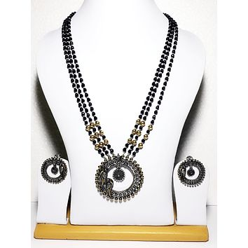 Dual tone Oxidized gold n silver peacock long necklace and earring set