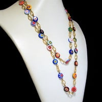 Murano Millefiori Glass Bead Necklace, Murano Glass Bead 43in Necklace, Gold Tone Links, Murrini Beads, Art Glass Bead Necklace 617