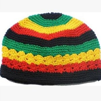 10pcs Jamaican Rasta hat Bob Marley hat Jameican hat tams fancy dress costumes Crochet rasta beanies Gorro Bob marley cap G-72