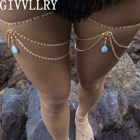 Gold Turquoise Leg Chain, Buy 1 or 2.