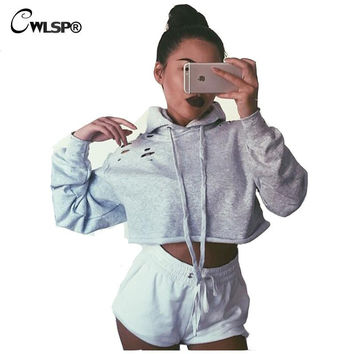 New Arrival Fashion Women Hoodies Sweatshirts Shoulder Holes Long Sleeve Ripped Crop Top Short Women Pullover felpe donna QA1406