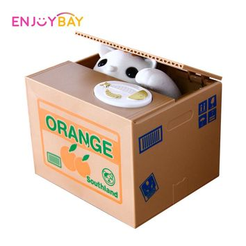 Enjoybay Cat Stealing Money Saving Box Toys Automated Piggy Bank Boxes Cat Eat Money Bank Funny Steal Coin Toy for Kids Gifts