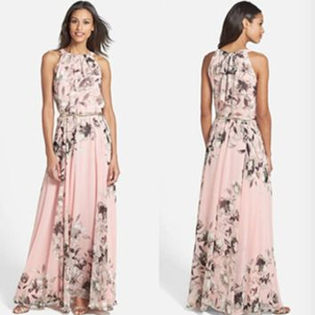 Fashion Floral Print Round Neck Sleeveless Maxi Dress