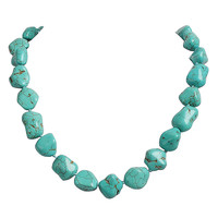 Turquoise Irregular Gemstone Bib Chunky Statement Necklace
