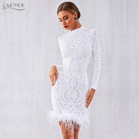 Adyce 2019 New Winter Elegant Sequins Feather Runway Club Party Dress Vestido Sexy Long Sleeve Evening Fashion White Woman Dress