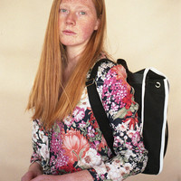 Black & White Heap Line Backpack - Handcrafted street style backpack - Vintage inspired retro bag