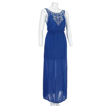 Embroidered Gauze Maxi Dress Jr 260150084 | Casual | Dresses | Juniors | Burlington Coat Factory