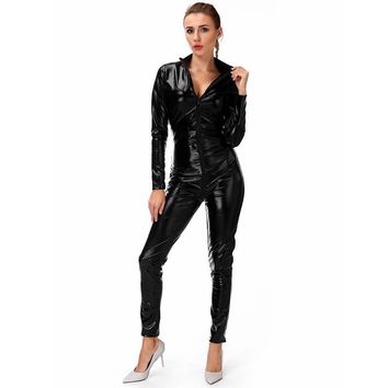 FLORATA Women's Sexy Faux Leather Fetish Catsuit Night Clubwear Sexy Gothic Costume Solid Black Wet Look Metallic Jumpsuit M-4XL