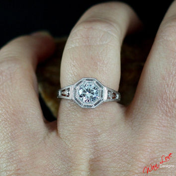 Moissanite Solitaire Antique style Filigree Engagement Ring .75 1 ct 6mm 14k 18k White Yellow Rose Gold-Platinum-Custom made size-Wedding