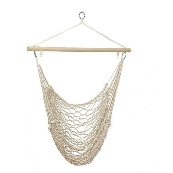 Portable Cotton Hammock Patio Porch Hanging Rope Swing Chair