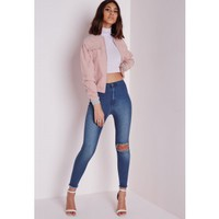 Missguided - High Waisted Rip Knee Ankle Grazer Skinny Jeans