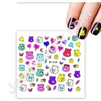 Jem Beauty Supply: Misc 13354 Nail Water Decal Care Bears 1 Sheet, Nail Art Stickers