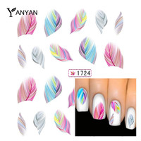 1pcs Fashion Colorful Feather Nail Art Water Transfer Sticker Nail Art Tips Wraps DIY Nail Beauty Accessories