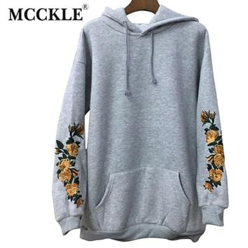 MCCKLE  American Apparel Hooeded Sweatshirt Women Elegant Embroidery Flowers Long-sleeved Pullover Fashion High Quality Hoodies