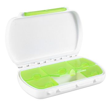 Travel Portable Pill Holder Rotated 6 Slot Vitamin Medicine Box Case Organizer Container