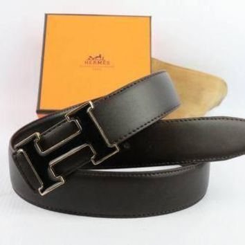 HERMES Woman Men Fashion Smooth Buckle Belt Leather Belt-31