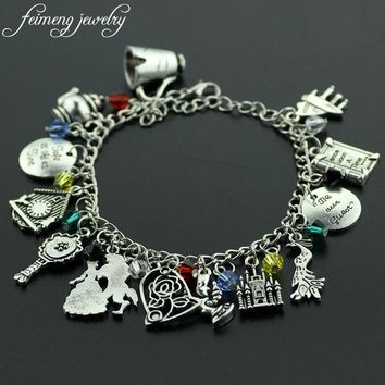 feimeng jewelry Beauty and the Beast Charm Bracelet Cup Kettle Beast Prince and Belle Princess Bracelets For Women Fashion Gifts