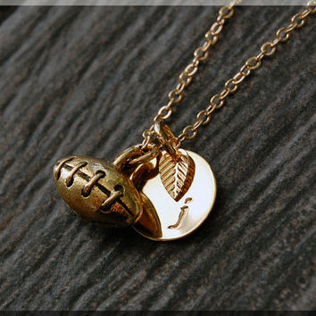 Gold Football Charm Necklace, Initial Charm Necklace, Personalized, Football Charm, Football Pendant, Football Fan Jewelry, Fan Necklace