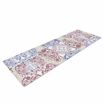 "Famenxt ""Floral Dense Garden"" Blue Brown Illustration Yoga Mat"