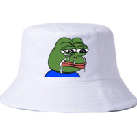 Trendy Sad Meme Frog Print Bucket Hat Casual Sport Cap Hat In Black & White