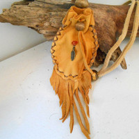 Handsewn Medicine Pouch, Small Fringe Medicine Pouch, Amulet Bag, Cystal Pouch, Brass Feather, Carnelian Gemstone, Native American, OOAK
