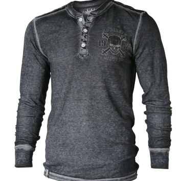 Xzavier Men's Acid Wash Burnout Slim & Thin Thermal Henley