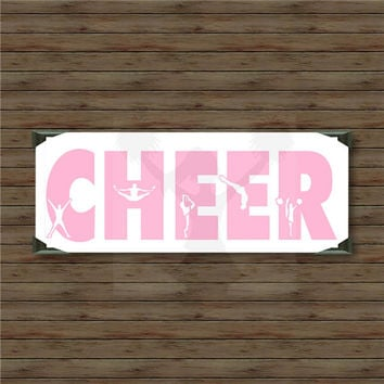 CHEER /35/ vinyl decal / car decal / cheerleading decals / cheer decals / cheerleader / cheer coach / pompoms / cheer stunts cheer mom