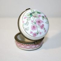 Porcelain Limoges Box, Trinket Box with Lid, Jewelry Box with Pink Flowers