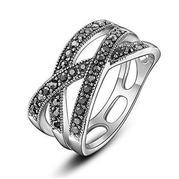 AUGUAU Dnswez 10mm Black Marcasite Beaded Criss-Cross Band Ring Silver Tone Statement Ring Size 6-10