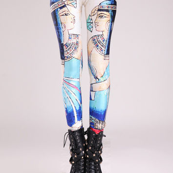 Queen of Egypt Mural Print Leggings