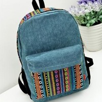Canvas Backpack with Colorful Stripes from topsales