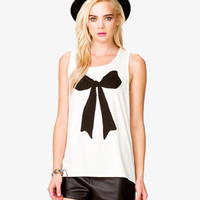 High-Low Rhinestoned Bow Tank
