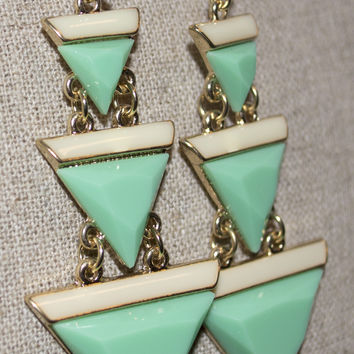 Triangle Drop Mint Earrings