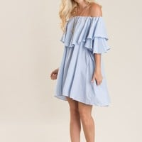 Zoey Blue Stripe Ruffle Off the Shoulder Dress